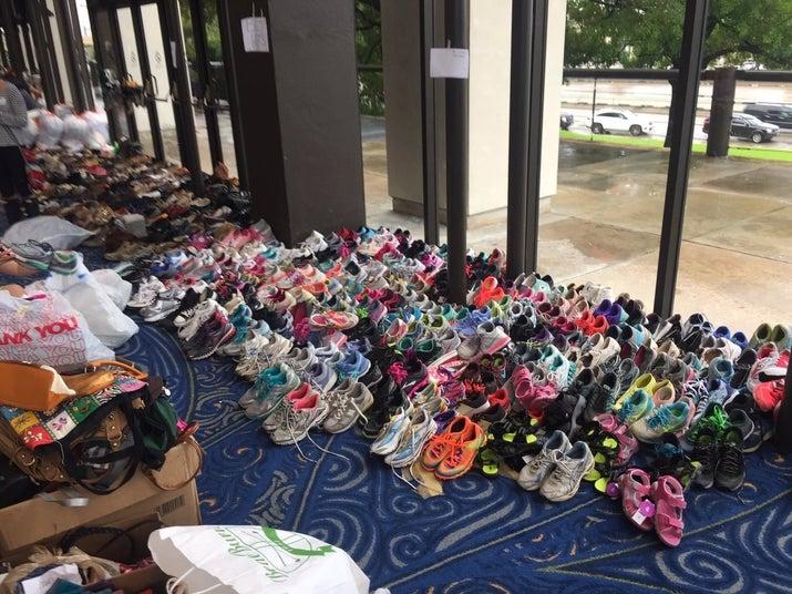 Donated shoes at Lakewood Church.
