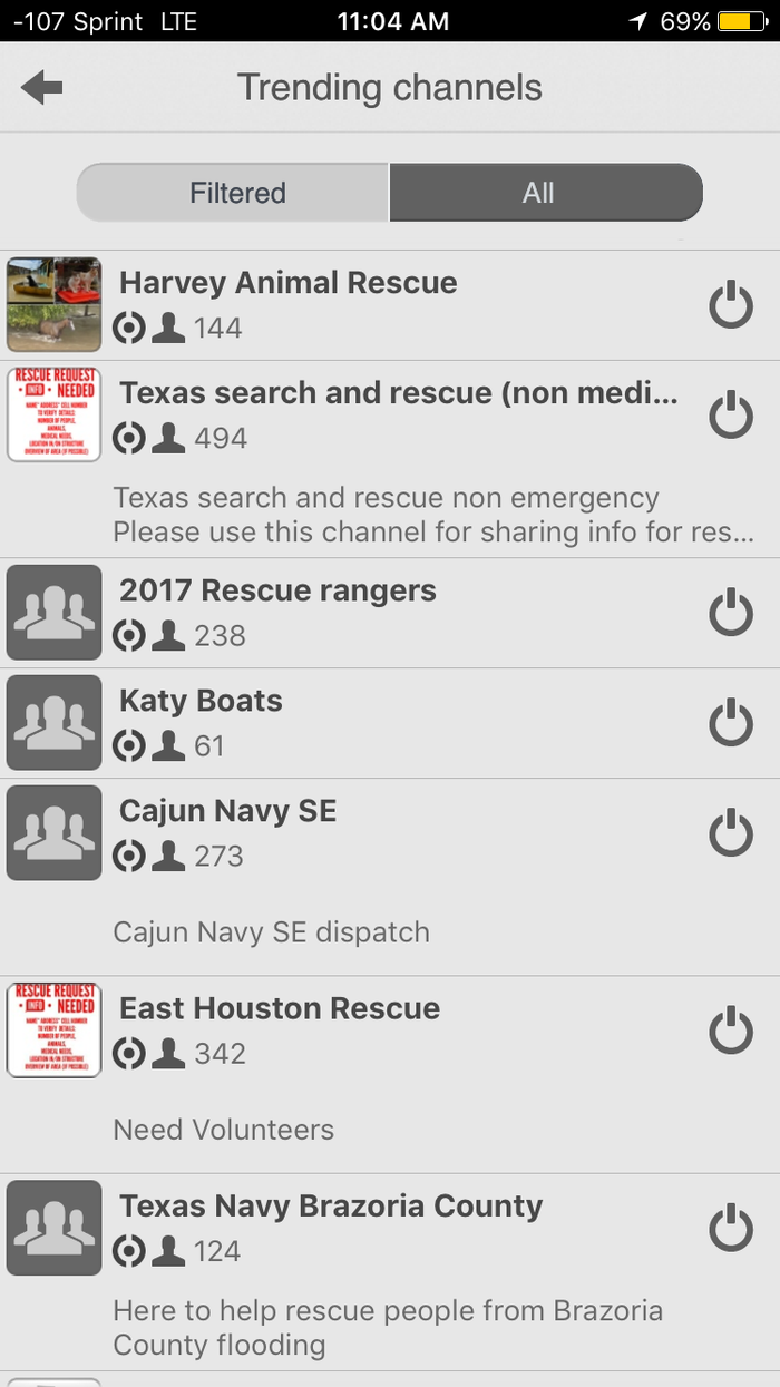 Harvey-related channels dominate Zello's Trending section.
