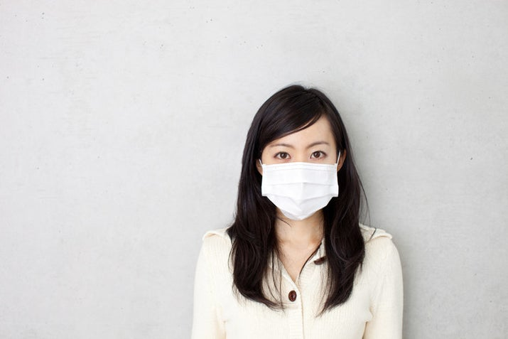 If you get sick in Japan, the polite thing to do is wear a mask, so you don't cough and pass around germs. Many women also use masks when they're feeling too lazy to put on makeup.