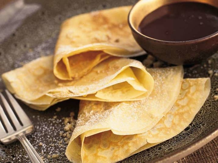 These crepe-like treats are a popular dish around Central and Eastern Europe where you'll often find them garnished with apricot jam, walnuts, or cottage cheese. Get the recipe.