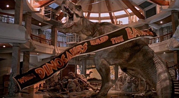 The original ending had one of the raptors killed after getting stuck in a T. rex skeleton that crashes to the ground. But after seeing the success of the T. rex sequences, Spielberg was inspired to bring back the gigantic dinosaur for one last heroic appearance.