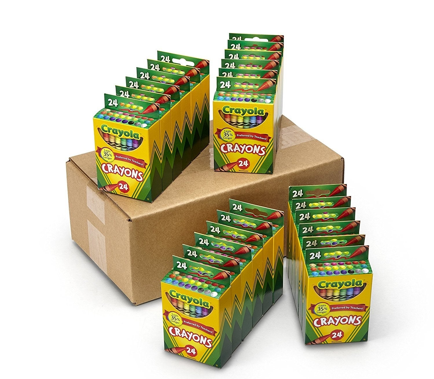 Each pack contains 24 crayons, for a total of 576 crayons.Get them for $29.46 ($7.53 off the list price).