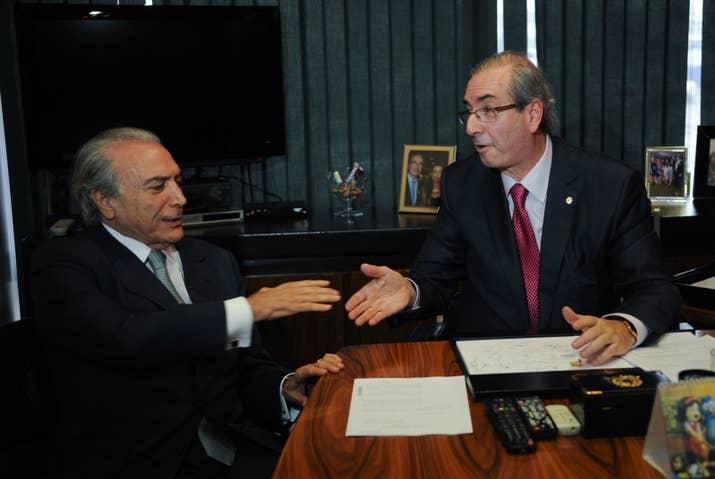 O ainda vice-presidente Michel Temer com Eduardo Cunha, quando era deputado, em 2015.