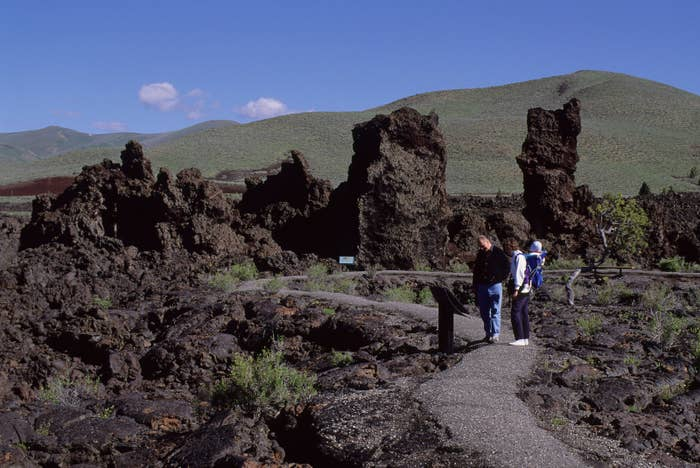 Visitors in the lava field at Craters of the Moon National Monument in Idaho.