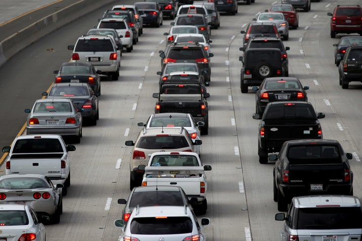 Morning traffic fills the SR2 freeway in Los Angeles in 2013.