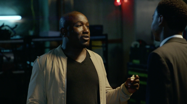 When the scene cuts, Jerrod Carmichael walks off set to chat with Hannibal Buress (who, tbh, seems like he's only there for the food).