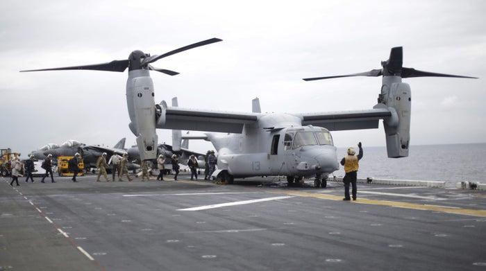 An MV-22B Osprey Aircraft on the deck of the USS Bonhomme Richard off Sydney in June.