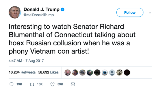 So what's a vacationing president to do when he's all cooped up inside? What we all do on rainy days, of course: Tweet attacks at political opponents, such as Democratic Sen. Richard Blumenthal.