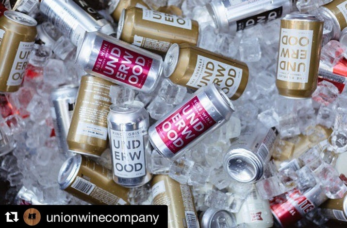 Underwood, Sophia, Babe Rosé even Trader Joe's is making canned wine. I'm quite thankful for canned wines because now I can drink something in a parking lot at a concert without worrying about breaking a bottle #pinkiesdown @unionwinecompany @coppolawine @webroughtwine @traderjoes