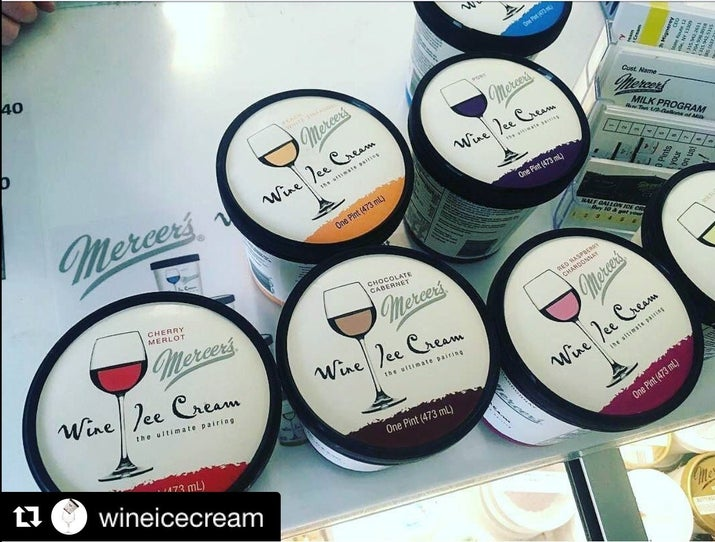 The ultimate PMS ice cream come in flavors like Peach White Zinfandel, Chocolate Cabernet, Lemon Sparkling, Cherry Merlot, Strawberry Sparkling, Port, Red Raspberry Chardonnay, Shiraz, Riesling, and Spice