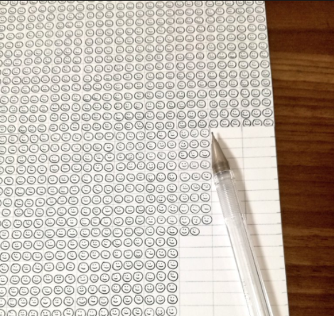 Asuka Sato, a Japanese ballpoint pen artist, drew 29,249 smilies to see how much ink a Hi-Tec-C ballpoint holds.