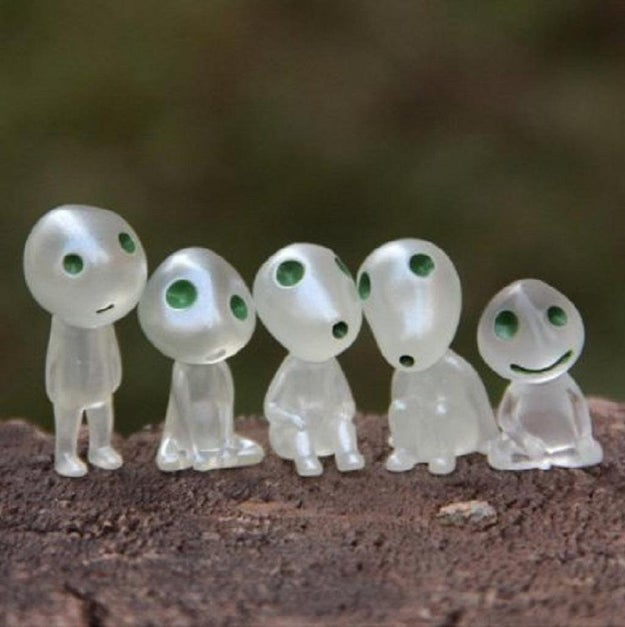 A set of little tree spirits for making your garden feel like the forest in Princess Mononoke.
