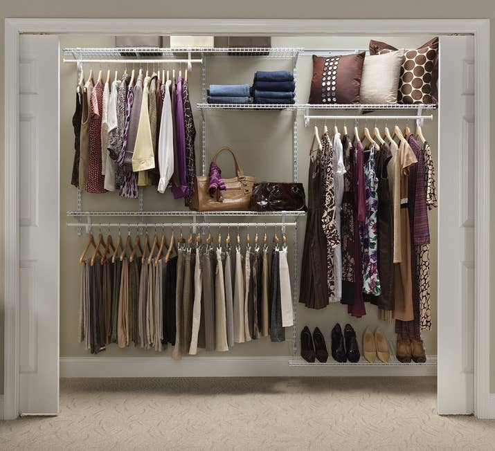 Buy a closet organizing system for some bones to build upon for your  specific needs.