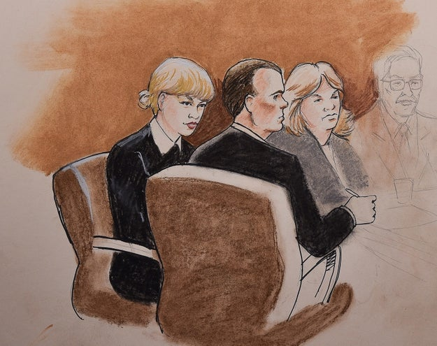 Though there aren't any pictures from inside the Colorado courtroom, there is a sketch of Taylor, and it's...