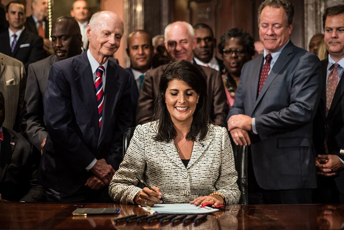 Then-South Carolina Gov. Nikki Haley at the July 2015 bill signing that removed the Confederate flag from Statehouse grounds.