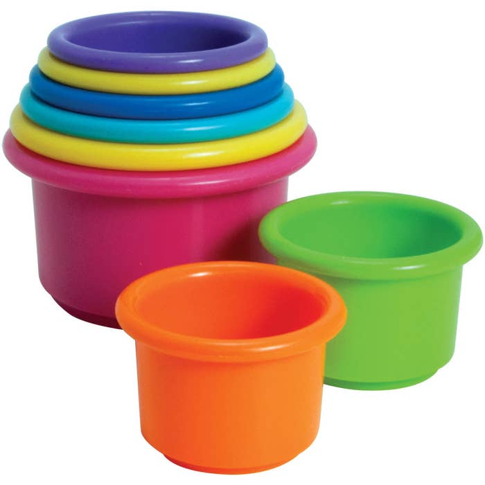 """Age range: 6–12 monthsPromising review: """"Out of all the toys my little spoiled one-year-old has, these little cups have by far been her favorite! Great way to keep them motor skills growing! Love the little clip that comes with it to keep them all together and for traveling! Would have paid double for this item!"""" —MomalinaGet them at Walmart for $1.81."""