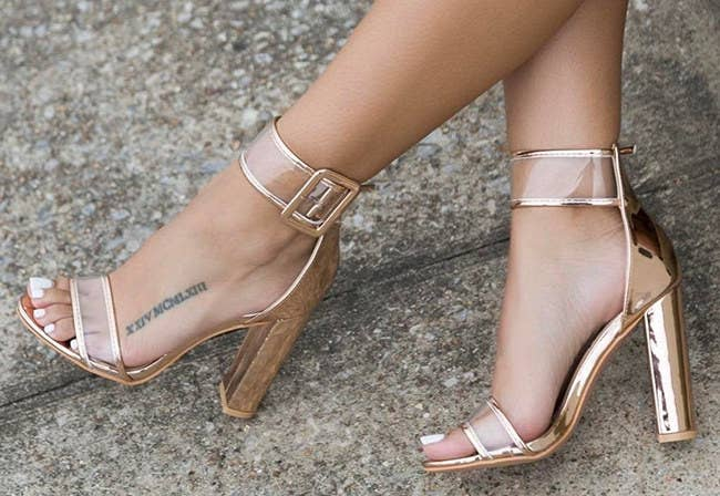 cf04505fb6b A transparent chunky heel sandal with a non-slip outsole — so you ll never  have to worry about a slick surface ruining your fierceness.