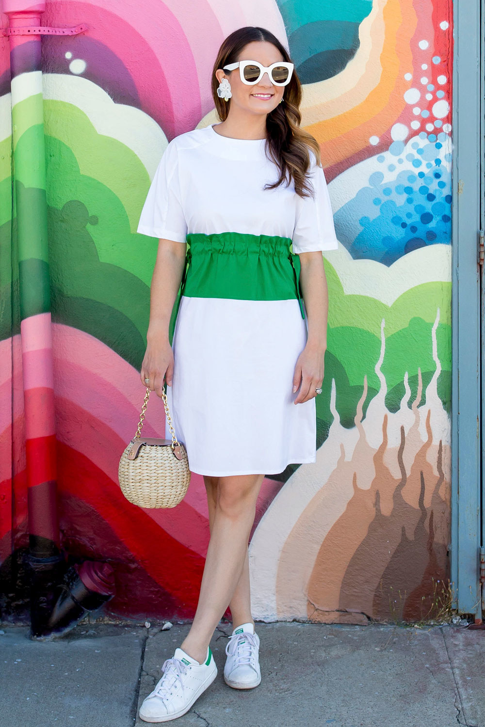 Yes to all of this. We love the fun green colorblock dress paired with comfy all-white Adidas tennis shoes.