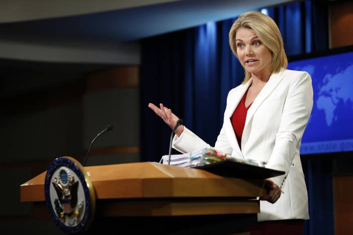 State Department spokesperson Heather Nauert during a briefing Wednesday.