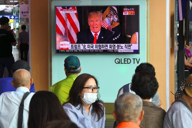 "Later Tuesday, President Donald Trump declared that North Korea would be ""met with fire and fury like the world has never seen"" if it continued threatening against the US."