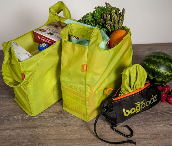 """The bags are machine washable. Promising Review: """"This is a great product! I can fit a lot of groceries in each bag. I find that five bags are enough to hold a week's worth of groceries for two. The bags are a good quality and easy to stuff back into the pod when done. And I feel good that I am finally using my own bags instead of wasting plastic bags each trip!"""" —Karen Mortensen Get a set of five from Amazon for $24.95."""