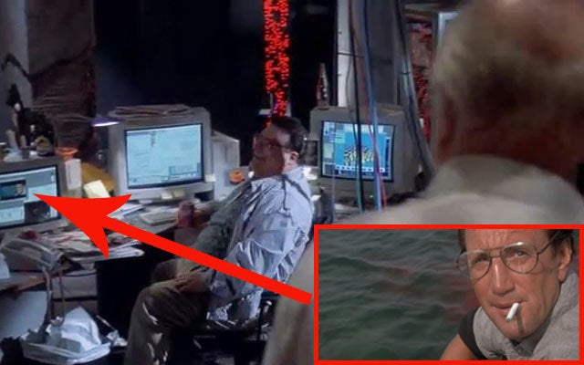 If you look closely during Nedry's argument with Hammond, you can just make out Jaws playing on one of the computer screens.