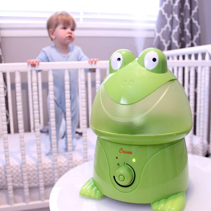 """It covers rooms up to 250 square feet and has an auto-shutoff safety sensor.Promising review: """"I've had this little green frog humidifier for almost two years. With regular use and cleaning, it is still running great. I don't use a filter, but you can buy them. I don't feel they are necessary if you clean it often. Oh, and it's cute!"""" —MDunderPrice: $41.99"""