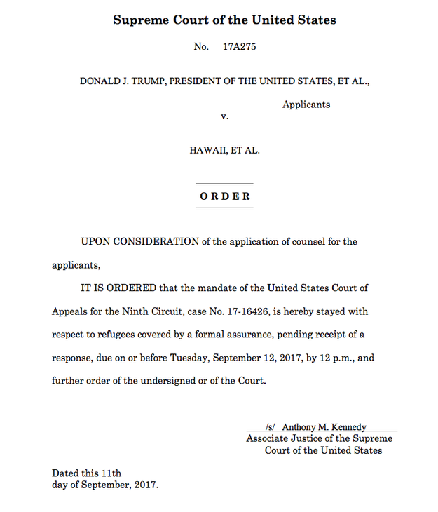 The order from Justice Anthony Kennedy: