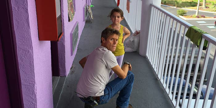 Willem Dafoe and Brooklynn Prince in The Florida Project.