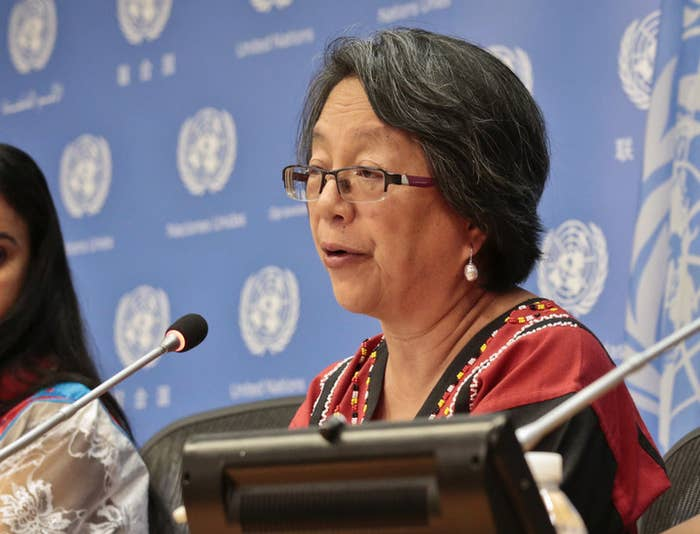 Victoria Tauli-Corpuz, UN special rapporteur on the rights of Indigenous peoples, speaks at a news conference at the UN headquarters.