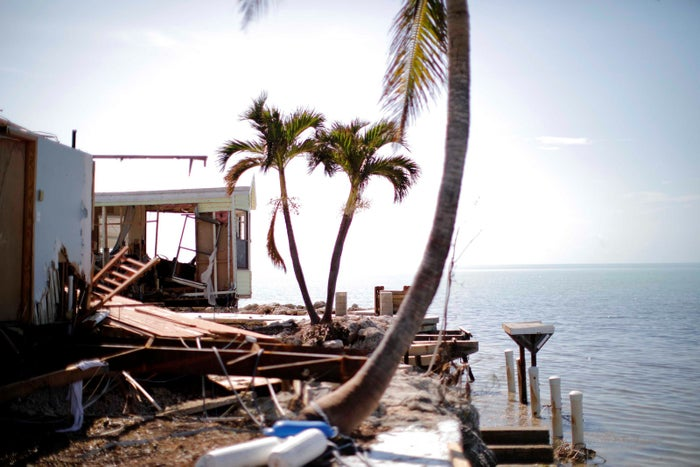 A destroyed trailer park is seen after Hurricane Irma strikes the Florida Keys.