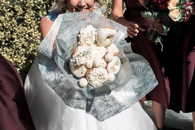 Paige Kirk and her three bridesmaids carried the tasty treats instead of flowers for her wedding on Saturday.