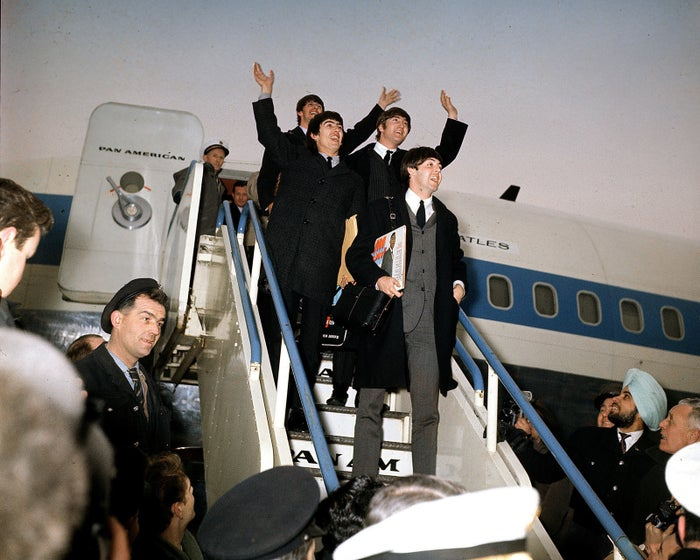 The Beatles arrive at London Airport after their US tour on Feb. 22, 1964. From front: Paul McCartney, George Harrison, John Lennon, and Ringo Starr.)