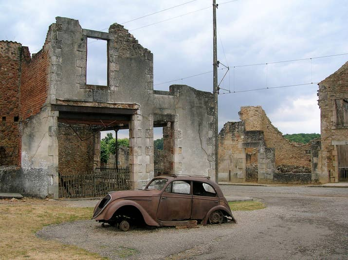 On June 10, 1944, a Nazi Waffen-SS company destroyed the village of Oradour-sur-Glane, France, massacring its inhabitants, including women and children. After the war ended, General Charles de Gaulle ordered the village not to be rebuilt, and instead left it as a memorial and museum to remind the world of the atrocities of Nazi occupation.