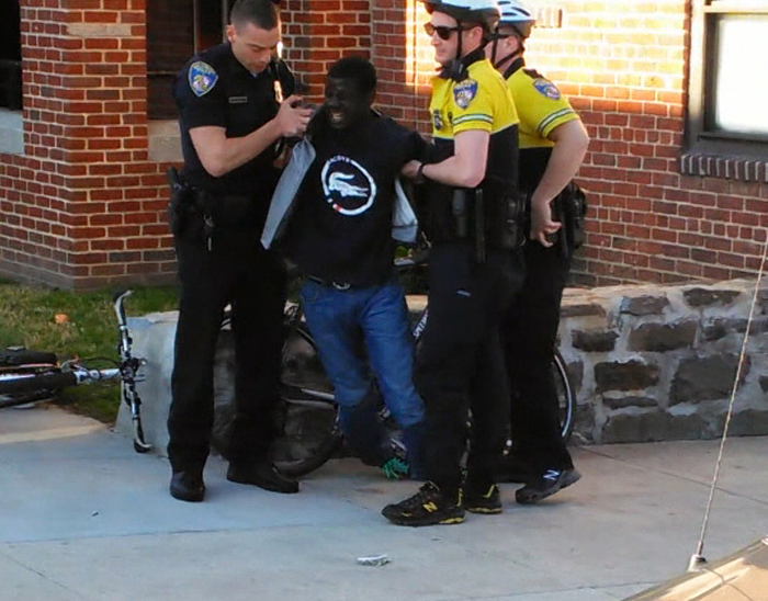 Freddie Gray is arrested by Baltimore police in April 2015. He later died after being put into the back of a police van.