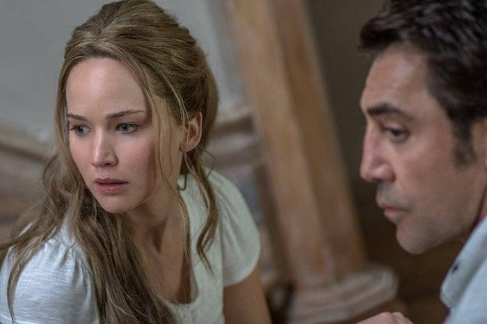 Jennifer Lawrence and Javier Bardem in Mother!