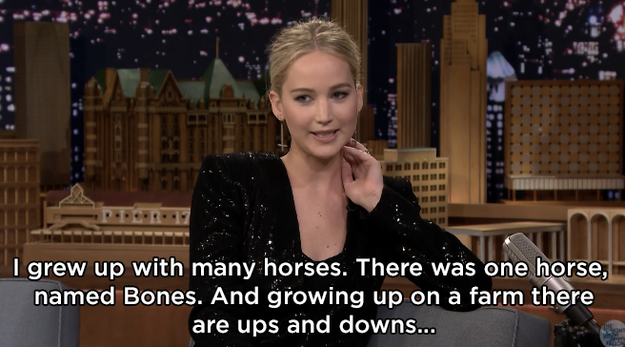 Then, Jen shared a story from when she was younger. It was about how her mom revealed to her that one of their family's horses, named Bones, had died.