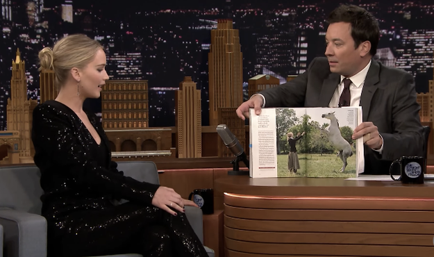 On the show, JLaw and Jimmy talked about her Vogue shoot that featured a horse.