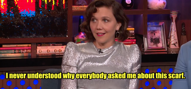 But when Andy Cohen asked Maggie if she really had Taylor's scarf on Watch What Happens Live last night, she was pretty confused about the whole thing: