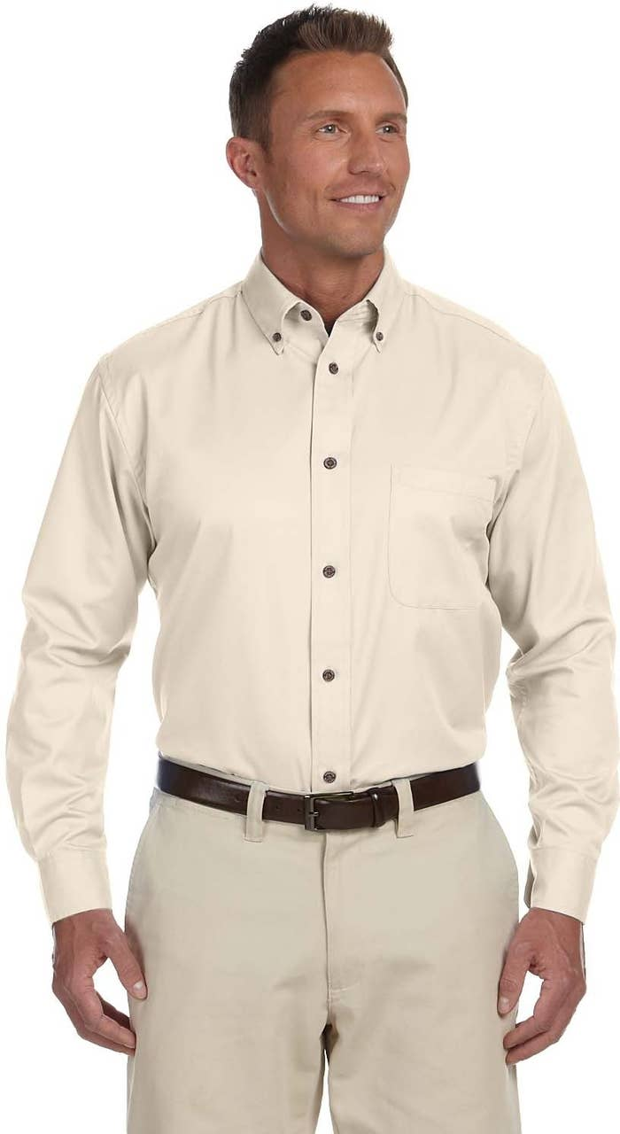 """Promising Review: """"These are great shirts. They wear well and wash well. They are good for office and casual wear, and they have a variety of colors. I usually iron them once and then them wear for a few days without additional ironing. Right now these are the only shirts I wear, and they cost about a third of what I can get at a department store. Plus, my size is always in stock. Finally, the twill weave keeps the shape of the shirt longer as opposed to broadcloth or oxford. With the button-down collar you always look great."""" –Robert MiddletonGet it from Amazon for $13.55+. Sizes: XS-6XL. Available in 16 colors."""