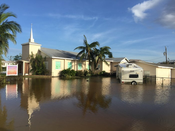 The floodwaters in the tiny island town of Chokoloskee after Hurricane Irma