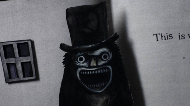 OK, so first up, this is The Babadook. He's a physical manifestation of grief that lives in an Australian family's basement and sometimes terrorizes them with pop-up books just for the drama of it.