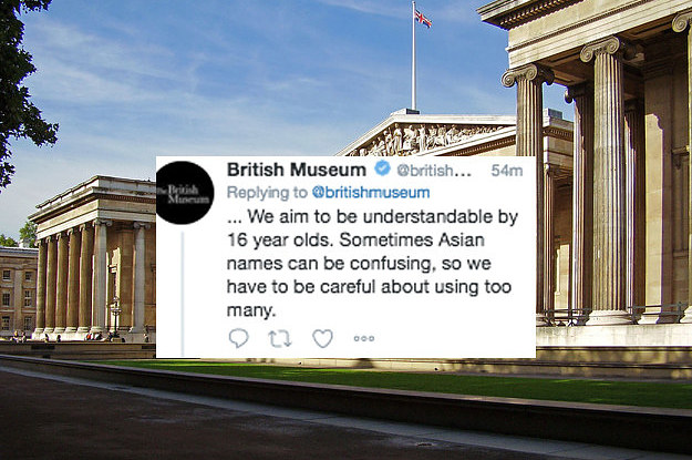 the british museum tweeted that asian names were confusing and