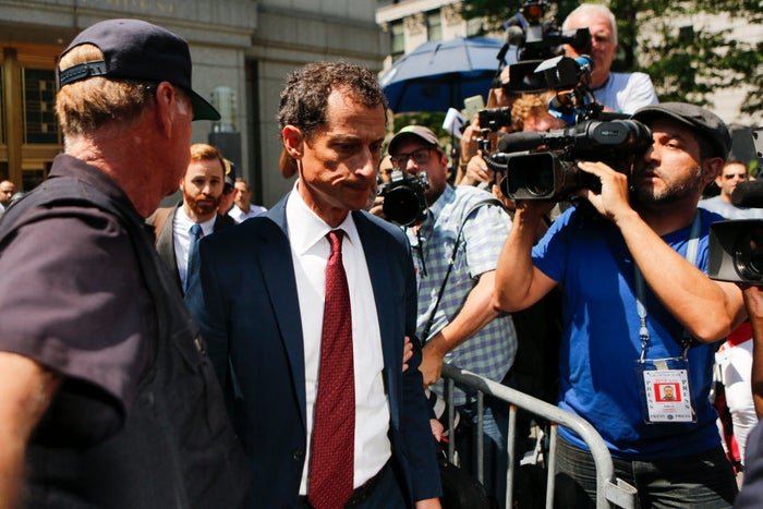 Weiner leaving court in May after pleading guilty.