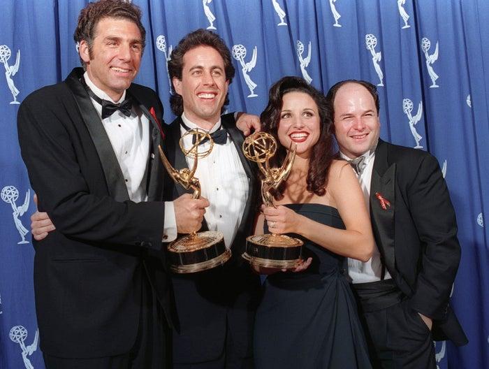 (L-R) Michael Richards, Jerry Seinfeld, Julia Louis-Dreyfus, and Jason Alexander