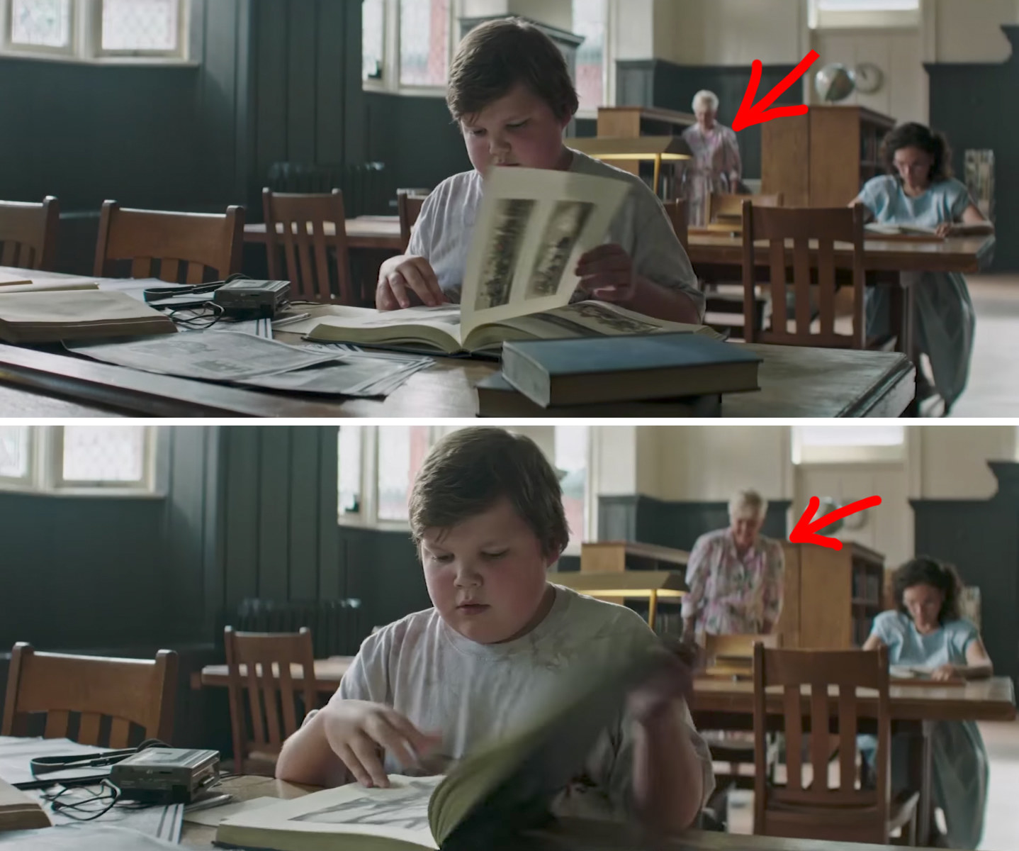 1. When Ben Is Reading Through A Book In The Library, Thereu0027s A Terrifying  Elderly Woman Lurking In The Background With A Sinister Grin On Her Face.