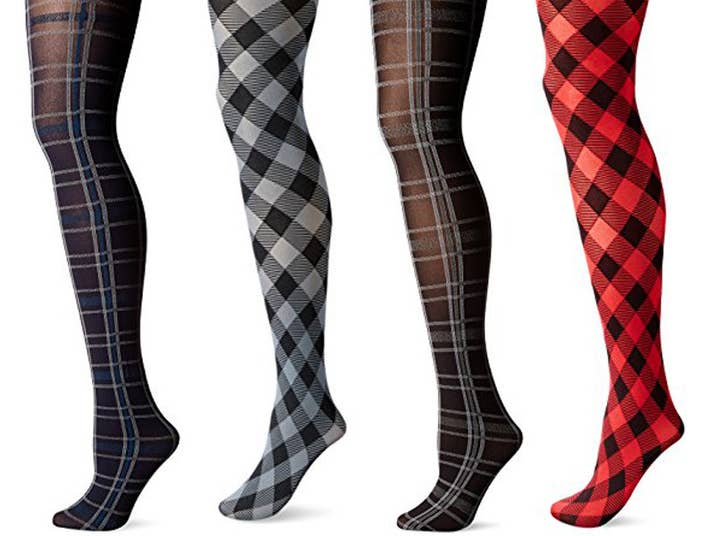 "Promising review: ""I have been wearing Hue tights for years. I absolutely love them. They are soft and comfortable, not at all scratchy — yet they are tough and durable. I have a few pairs that have been with me through several seasons of wear. I have accidentally had them get mixed in with laundry more times than I care to admit and they still retain their shape, even after running through the washing machine with a load of clothes. They do not pill easily. Mine have not pilled at all and I do not always take the best care of them, though I try. One of the things I love about them is the waist does not roll and the waist hits at your actual waist, which adds to their comfort."" —Morgan PennPrice: $3.11+ Rating: 4.2/5 Sizes: 1–5 Color: 4 plaid, 11 solid"