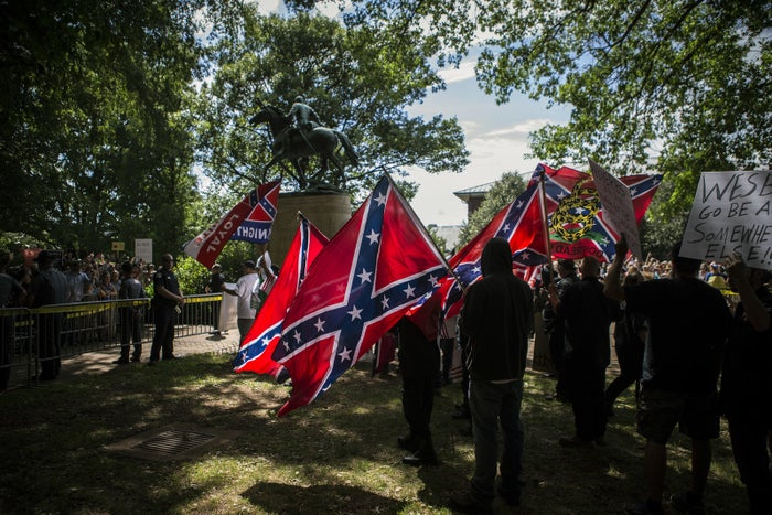 The Ku Klux Klan protests the planned removal of a statue of General Robert E. Lee in July in Charlottesville, Virginia.