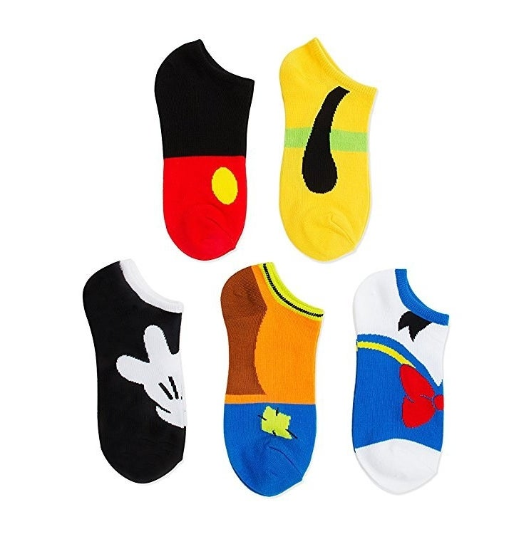 five socks stylized to look like disney characters