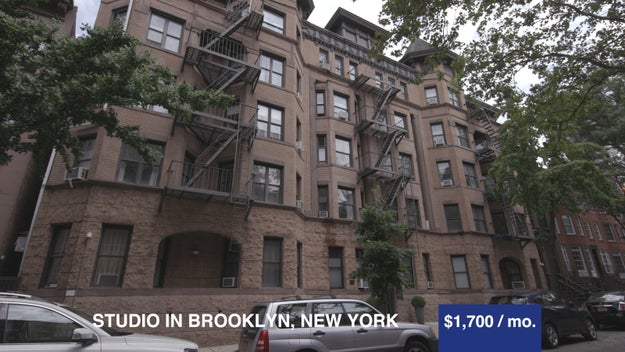 Apartment number one was located in Brooklyn at $1,700 a month. Yup, that's entry-level for New York! It was a 500 sq. feet studio that came with a bedroom, living room, and a full bathroom.